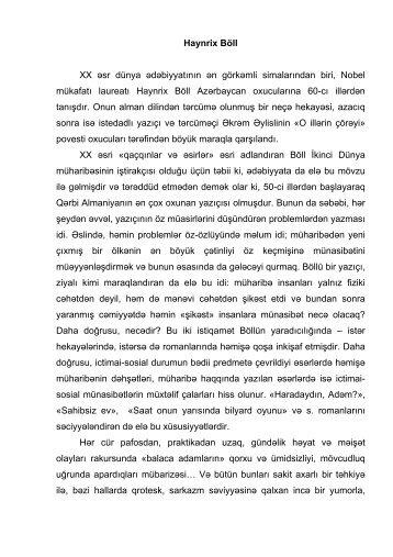 Böll Henrix - tərcümə ədəbiyyatı