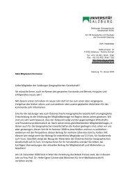 Liebe Mitglieder der Salzburger Geographischen Gesellschaft! Ich ...