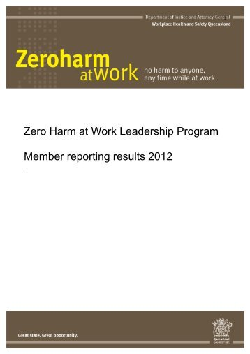 Zero Harm at Work Leadership Program 2012 Reporting Evaluation