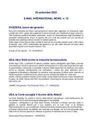 25 settembre 2003 E-MAIL INTERNATIONAL NEWS: n. 16 ...
