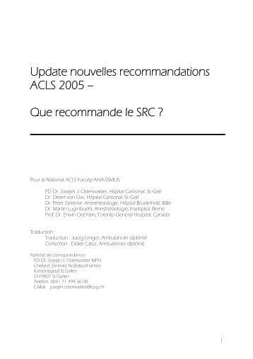 Update nouvelles recommandations ACLS 2005 - Swiss ...