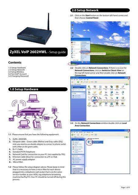 ZyXEL VoIP 2602HWL- Setup guide - TPG Internet