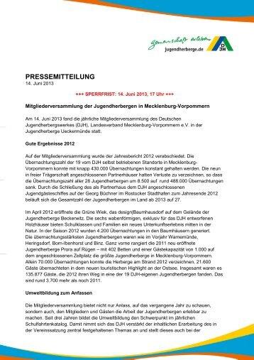 Mitgliederversammlung der Jugendherbergen in Mecklenburg ...