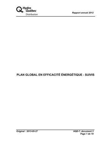 plan global en efficacité énergétique - suivis - Régie de l'énergie