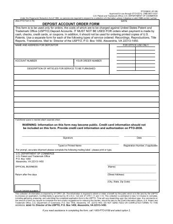 DEPOSIT ACCOUNT ORDER FORM - United States Patent and ...