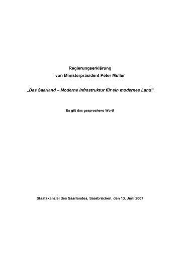 Wir stellen Ihnen hier die gesamte Regierungserklärung ... - CDU Saar