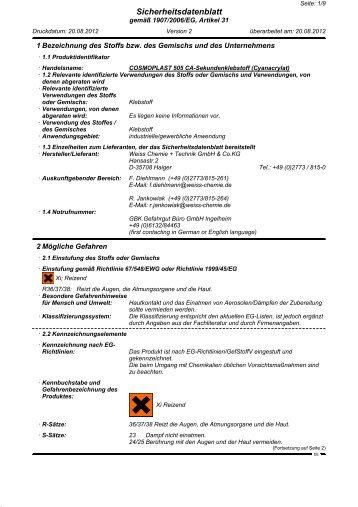 COSMOPLAST 505 CA-Sekundenklebstoff (Cyanacrylat) (PDF, 0.12 ...