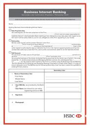 Business Internet Banking Secondary User Form (Sole ... - Hsbc