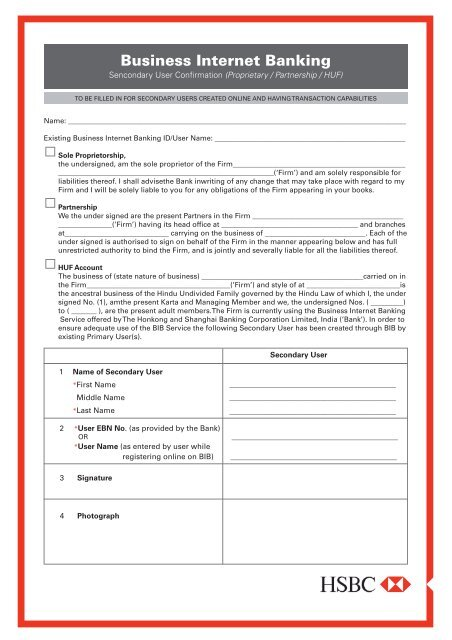 Business Internet Banking Secondary User Form (Sole     - Hsbc