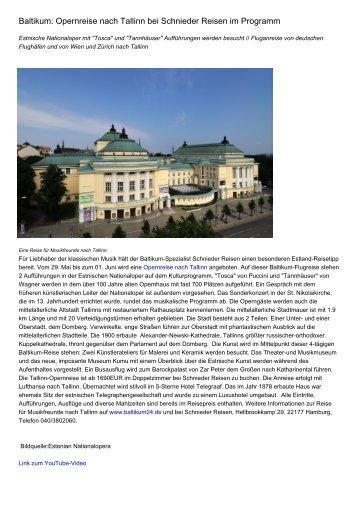 Baltikum: Opernreise nach Tallinn bei Schnieder Reisen im Programm