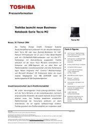 Toshiba launcht neue Business- Notebook-Serie Tecra M2