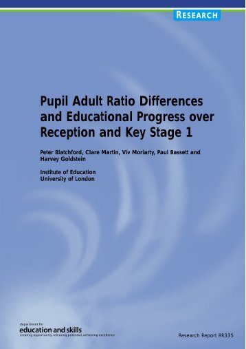 Pupil Adult Ratio Differences and Educational Progress over ...