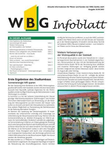 Infoblatt - WBG Wohnungsbaugesellschaft Görlitz mbH