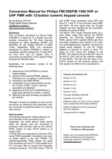 Conversion Manual for Philips FM1200/FM 1300 VHF or UHF PMR ...