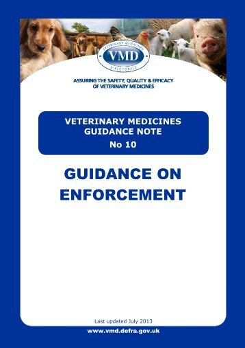 VMG Note 10 - Guidance on Enforcement - Veterinary Medicines ...