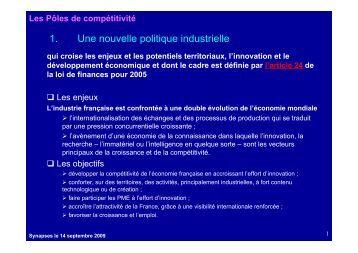 1. Une nouvelle politique industrielle - Pôle Sud Paris