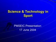 Science & Technology in Sport - Department of Innovation, Industry ...