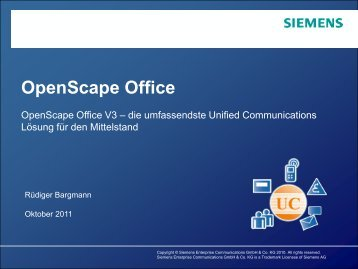 OpenScape Office V3 Trend Days Mai 2011 - Termath AG
