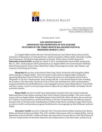 Five Dancers Promoted - Los Angeles Ballet