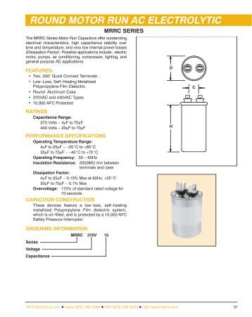 Round Case Motor Run Capacitors - NTE Electronics