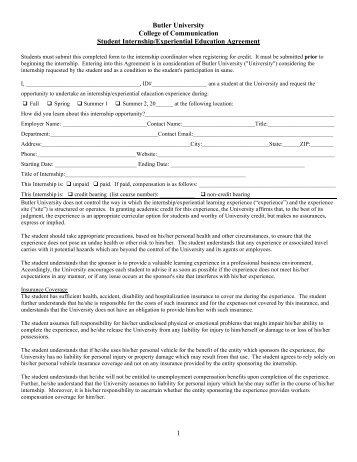 CCOM Internship Agreement - Butler University