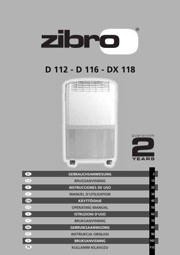 D 112 - D 116 - DX 118 - Zibro