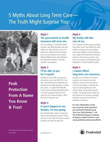 5 Myths About Long Term Care— The Truth Might ... - Prudential
