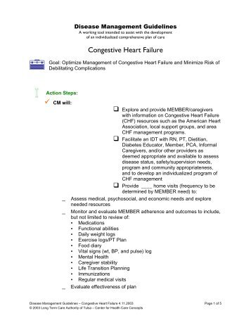 Disease Management Guidelines Congestive Heart Failure