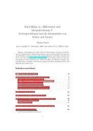 Kurz-Skript zu - Mathematisches Institut - GWDG