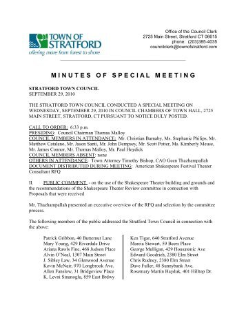 Minutes Of Special Meeting Town Of Stratford