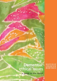 Dementia: ethical issues - Nuffield Council on Bioethics