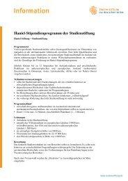 Haniel-Stipendienprogramm der Studienstiftung