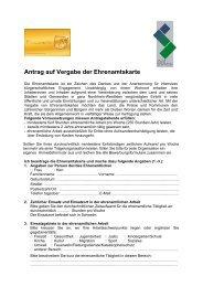 Antragsformular Ehrenamtliche - Stadt Schwelm