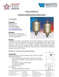 Fisa tehnica aerisitor automat pentru sisteme solare MV-SOL