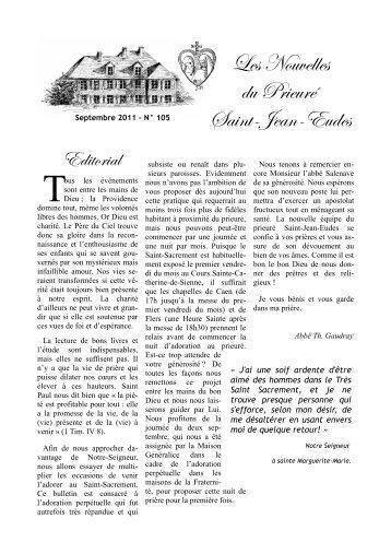 Nouvelles du Prieuré Saint-Jean-Eudes de Gavrus ... - La Porte Latine