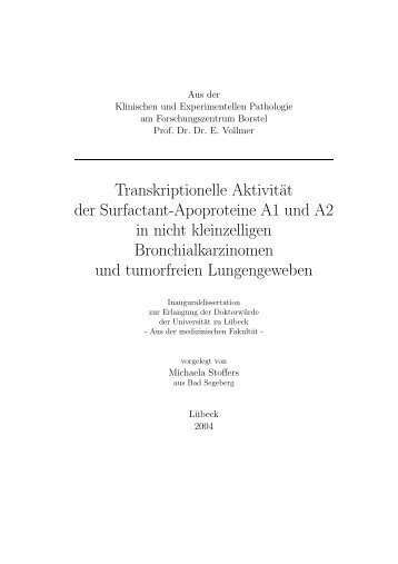 Transkriptionelle Aktivität der Surfactant-Apoproteine A1 und A2 in ...