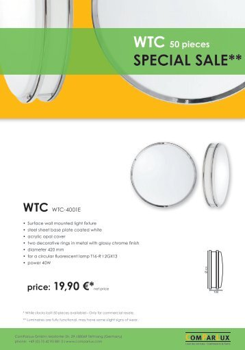 SPECIAL SALE** WTC 50 pieces - Comparlux Lighting Systems ...