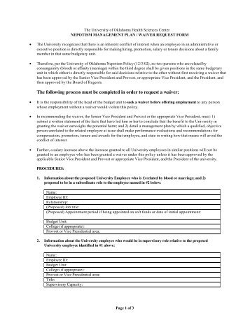 Nepotism Policy And Management Plan / Waiver Request Form
