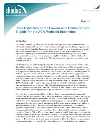 State Estimates of the Low-income Uninsured Not Eligible for the ...