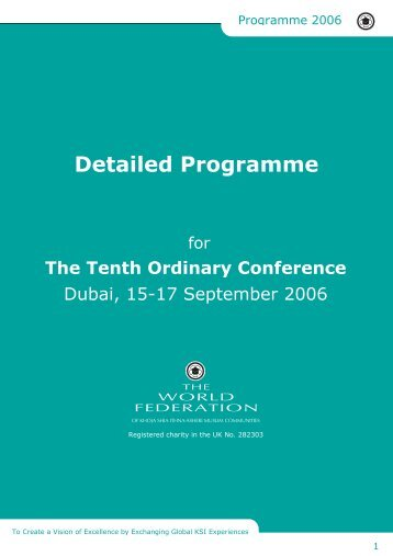 Conference Detailed Programme - The World Federation of KSIMC