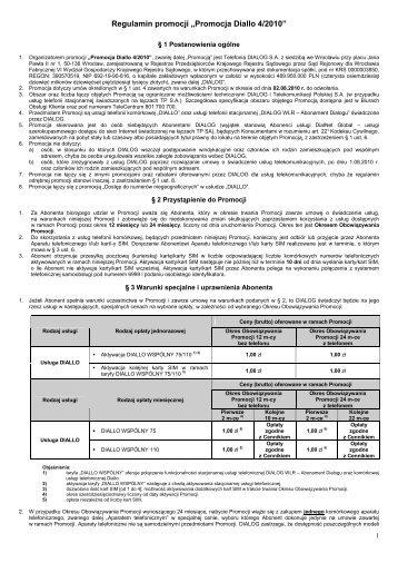 """Regulamin promocji """"Promocja Diallo 4/2010"""" - Dialog"""