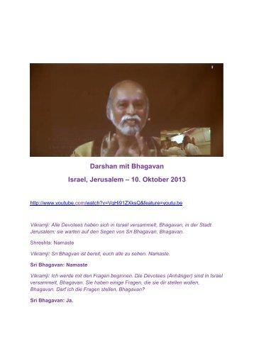 10.10.2013 / Webcast mit Sri Bhagavan und Jerusalem / d