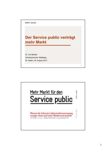Dr. Urs Meister, Avenir Suisse