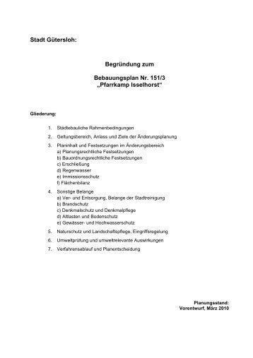 """Begründung zum Bebauungsplan Nr. 151/3 """"Pfarrkamp ... - O-sp.de"""