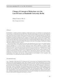 Change of Concepts of Behaviour over the Last 60 ... - Leopoldina