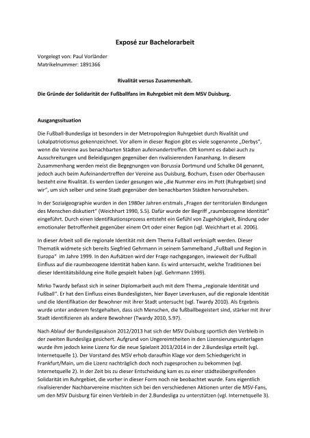 Expose Zur Bachelorarbeit Arbeitsgruppe Stadt Und