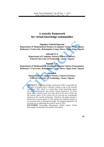 A security framework for virtual knowledge communities - Tibiscus