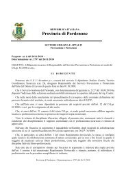 Determina Dirigenziale n. 2797 del 26/11/2010 - Provincia di ...