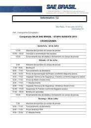 Informativo 12 - Cronograma da Competição - SAE Brasil