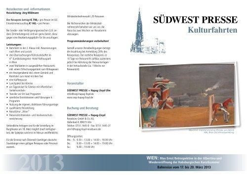 Bahnreise vom 17. bis 20. März 2013 - SÜDWEST PRESSE + ...